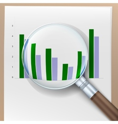 Growth histogram behind a magnifying glass vector