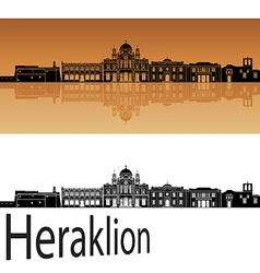 Heraklion skyline in orange vector image vector image