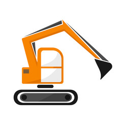 Hydraulic tracked excavator of orange color vector