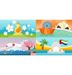India emirates thailand japan travel posters vector