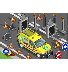 isometric roadside assistance van vector image vector image