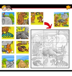 jigsaw puzzle activity with animals vector image vector image