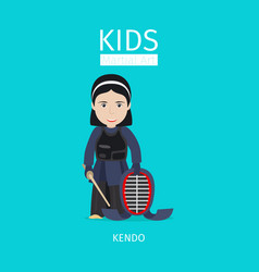 Kids martial art kendo girl vector