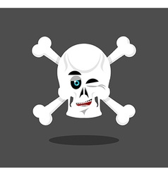 Laughing skull winks emotion crossbones cheerful vector