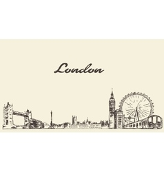 London skyline hand drawn engraved sketch vector
