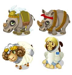Military rhinoceros sheep and monkey cosmonaut vector