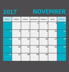 November 2017 november calendar week starts on vector