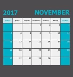 November 2017 November calendar week starts on vector image vector image