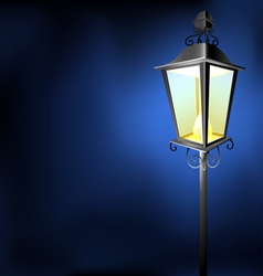 Old vintage street lamp in the dark vector image