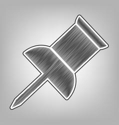 Pin push sign pencil sketch imitation vector