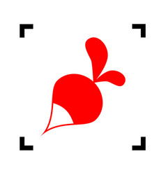 Radish simple sign red icon inside black vector