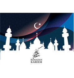 ramadan kareem with mosque and crescent vector image vector image