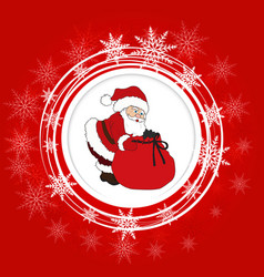 santa claus and snowflakes vector image vector image