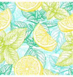 Seamless pattern with lemon and mint vector
