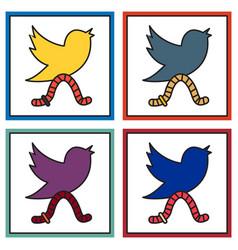 Set of unusual look tweet bird logotwitter icon vector