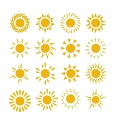 Yellow summer sun symbols vector