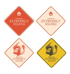 Yellow warning and danger signs collection eps8 vector