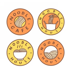 Set of food badges noodle cafe noodles vector