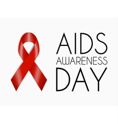 AIDS Awareness Day poster Red realistic ribbon vector image