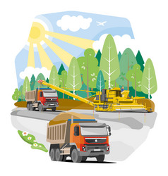 Drawing color dump trucks vector