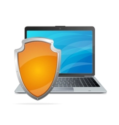 Security concept shield antivirus and laptop vector