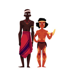 Native black skinned african tribal man and vector