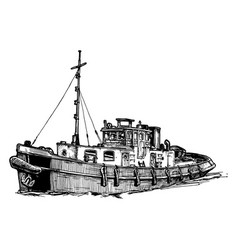 small motor ship vector image