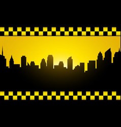 Background with evening city silhouette and taxi vector