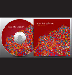 Paisley red floral cd design vector