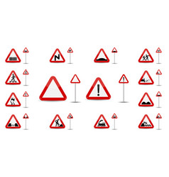 Sign warning slippery road in red triangle is a vector
