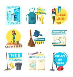 House or room cleaning flat desing vector