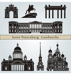 Saint petersburg landmarks and monuments vector