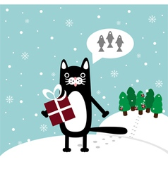 Cat with present vector