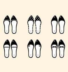 Black retro female shoes collection vector