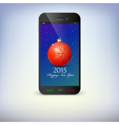 Front view of christmas phone isolated new year vector