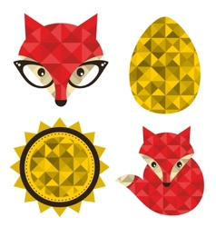 Set of hipster foxes vector