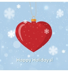 Greeting card happy holidays with heart decoration vector