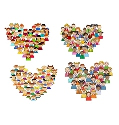 Heart shapes with cartoon kids vector