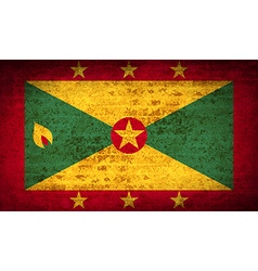 Flags grenada with dirty paper texture vector