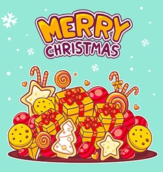 Red and yellow pile of christmas items an vector