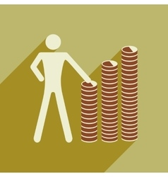 Flat with shadow icon man and stack of coins vector