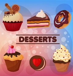 Sweet desserts set vector