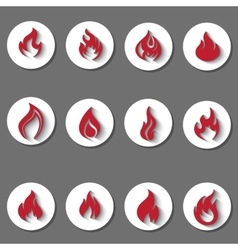 Fire icons set vector