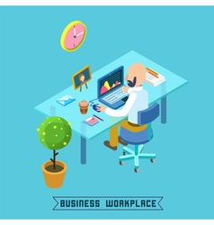 Modern workplace isometric office businessman vector