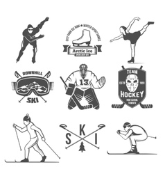 Winter sport badges set vector
