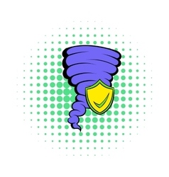 Hurricane insurance icon comics style vector