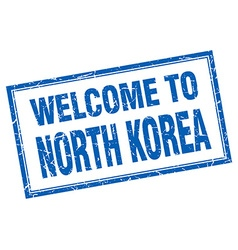 North korea blue square grunge welcome isolated vector