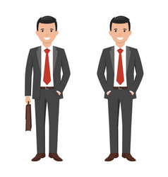 A young cartoon style smiling businessman vector
