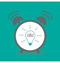 Alarm clock with idea light bulb icon Flat design vector image