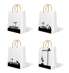 bag with recession and work sign vector image vector image
